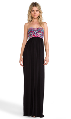 Mara Hoffman Mirror Embroidery Bustier Maxi Dress in Black