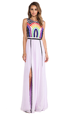 Mara Hoffman Rainbow Beaded Backless Gown in Rainbow