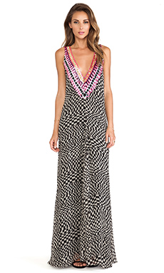 Mara Hoffman Deep V Gown in Checkers