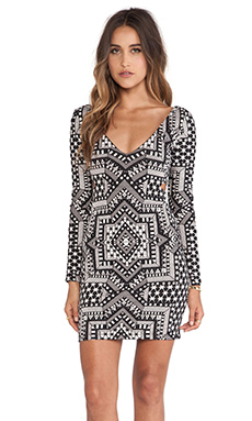Mara Hoffman Deep V Side Cut Out Dress in Star Jacquard