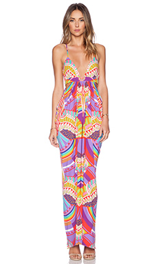 Mara Hoffman Triangle Cut Out Maxi Dress in Rainbow Bird Lilac