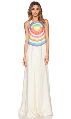 Mara Hoffman Embroidered Cut Out Maxi Dress in Electrolight Stone