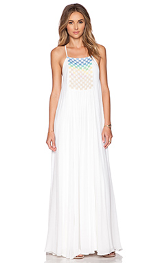 Mara Hoffman Beaded Trapeze Maxi Dress in White