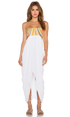 Mara Hoffman Embroidered Strapless Maxi Dress in White