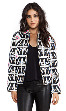 Mara Hoffman Embroidered Bomber in Black/White