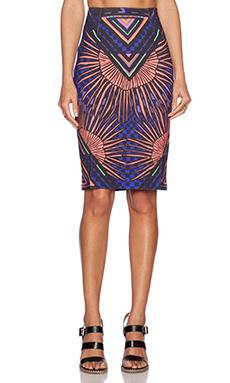 Mara Hoffman High Waisted Skirt in Rainbow Palm Black