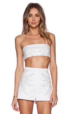 Mara Hoffman Embroidered Denim Bandeau in White