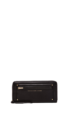 Marc by Marc Jacobs Military Leather Slim Zip Around Wallet in Black