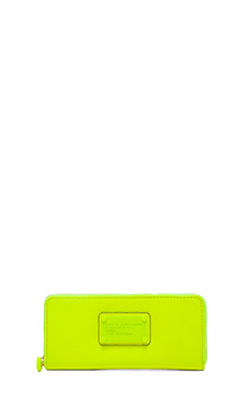 Marc by Marc Jacobs Electro Q Slim Zip Wallet in Safety Yellow