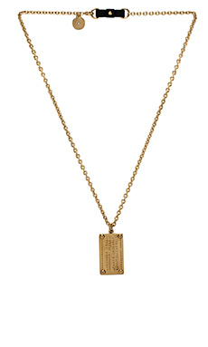 Marc by Marc Jacobs Standard Supply Engraved Dog Tag Pendant in Oro