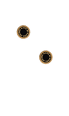 Marc by Marc Jacobs New Classic Marc Saw Tooth Enamel Disc Studs in Black