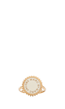 Marc by Marc Jacobs New Classic Marc Saw Tooth Enamel Disk Ring in Creme