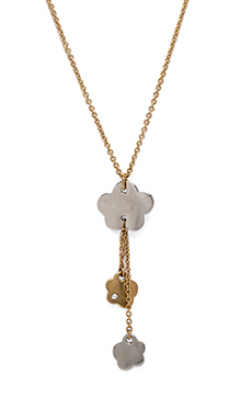 Marc by Marc Jacobs Aki Flower Y Front Blossom Pendant in Worn Gold Multi