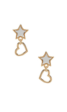 Marc by Marc Jacobs All Stars Star and Heart Earring in Silver Mirro