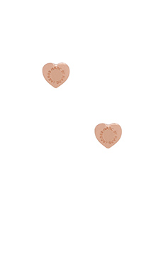 Marc by Marc Jacobs Domed Logo Heart Studs in Rose Gold