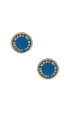 Marc by Marc Jacobs Enamel Logo Stud Earrings in Conch Blue