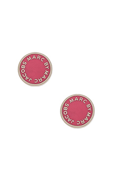 Marc by Marc Jacobs Logo Disc Stud Earrings in Bright Rose