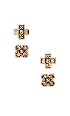 Marc by Marc Jacobs Cross Stud Earrings in Crystal & Oro