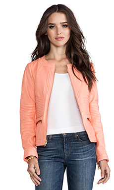 Marc by Marc Jacobs Darcey Textured Leather Jacket in Peach Ice Cream