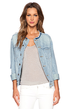 Marc by Marc Jacobs Icon Collarless Jacket in Cloud Blue Ripped
