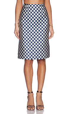 Marc by Marc Jacobs Checkerboard Jacquard Skirt in Deep Blue Multi