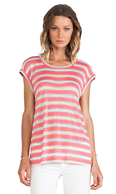 Marc by Marc Jacobs Miriam Mesh Stripe Tee in Rosa Mexicana Multi
