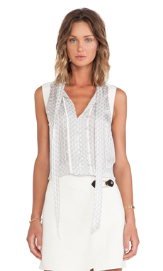Marc by Marc Jacobs Damara Print Crinkle Blouse in Antique White Multi