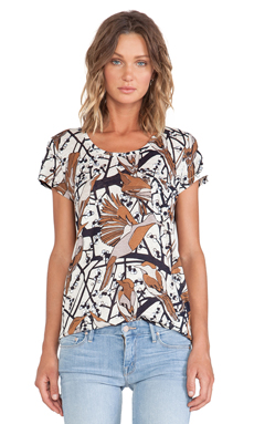 Marc by Marc Jacobs Nightingale Print Jersey Tee in Antique White Multi