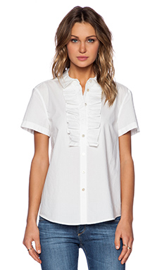Marc by Marc Jacobs Lyra Washed Poplin Short Sleeve Shirt in Wicken White