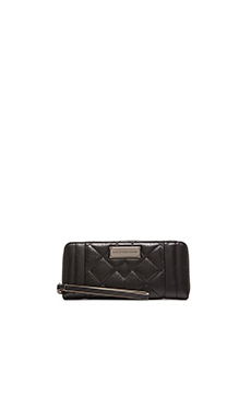 Marc by Marc Jacobs Moto Quilted Slim Zip Around Wallet in Black