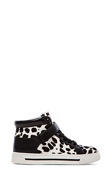 Marc by Marc Jacobs Cute Kicks 10mm Lace Up Sneakers with Calf Fur in White Multi