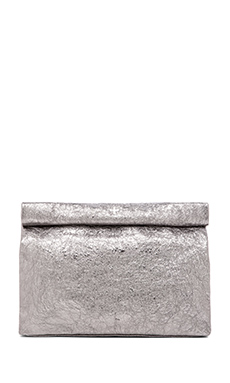 Marie Turnor Lunch Clutch in Pewter Foil