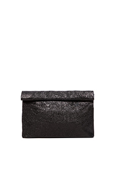 Marie Turnor Lunch Clutch in Black Foil