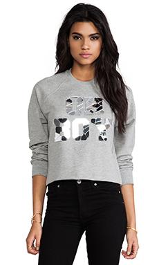 Markus Lupfer Oh Boy Mirror Crop Sweatshirt in Slate