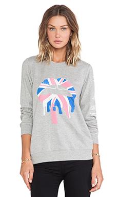 Markus Lupfer Union Jack Drip Lip Sequin Sweatshirt in Grey