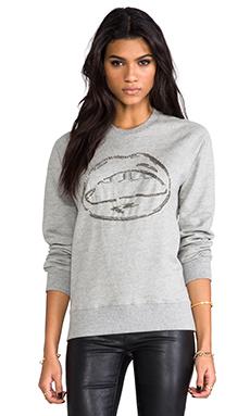 Markus Lupfer Chain Lara Lip Sweatshirt in Grey Marl