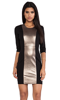 Mason by Mason by Michelle Mason Leather Inset Dress in Copper Dust