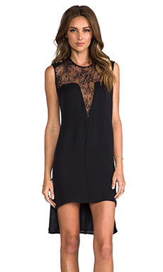 Mason by Mason by Michelle Mason Leather and Lace Shift Dress in Black