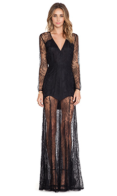 Mason by Michelle Mason Lace Gown in Black