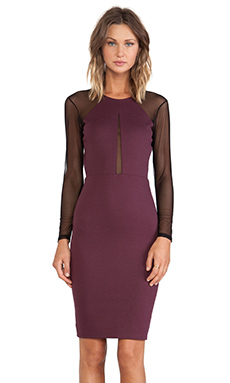 Mason by Michelle Mason Mesh Long Sleeve Dress in Wine