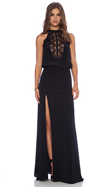Mason by Michelle Mason Lace Halter Gown in Black