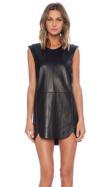 Mason by Michelle Mason Leather Shift Dress in Black