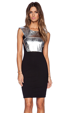 Mason by Michelle Mason Leather Front Tank Dress in Silver
