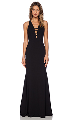 Mason by Michelle Mason Bar Strap Gown in Black