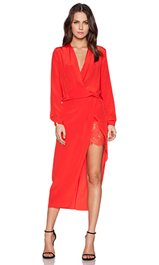 Mason by Michelle Mason Longsleeve Wrap Dress in Poppy