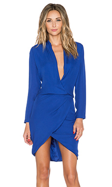 Mason by Michelle Mason Longsleeve Wrap Dress in Klein Blue