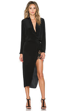 Mason by Michelle Mason Longsleeve Wrap Dress in Black