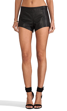 Mason by Mason by Michelle Mason Leather Front Shorts in Black
