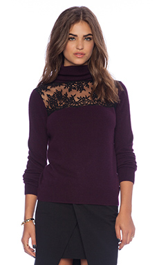Mason by Michelle Mason Lace Turtleneck Sweater in Wine