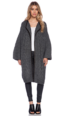Mason by Michelle Mason Leather Trim Cardi Coat in Grey
